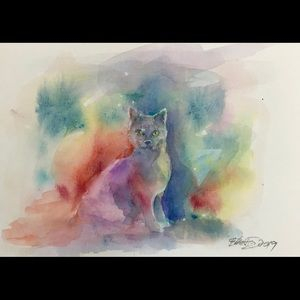 Original painting kitten cat feline cats artwork